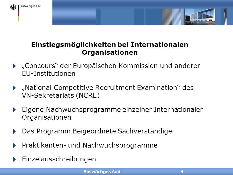 Einstiegsmöglichkeiten bei Internationalen Organisationen