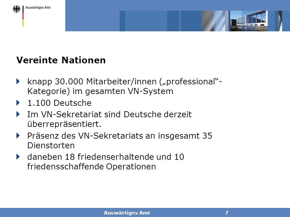 """Vereinte Nationen knapp 30.000 Mitarbeiter/innen (""""professional -Kategorie) im gesamten VN-System. 1.100 Deutsche."""
