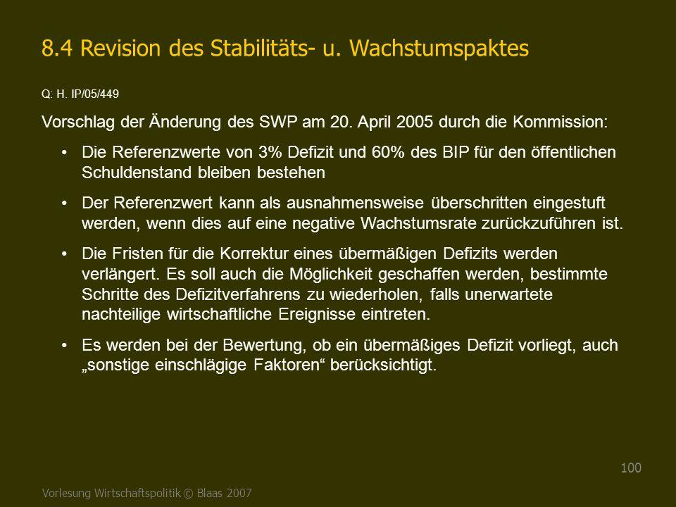 8.4 Revision des Stabilitäts- u. Wachstumspaktes