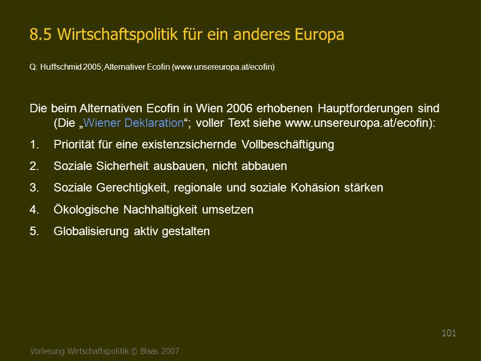 8.5 Wirtschaftspolitik für ein anderes Europa