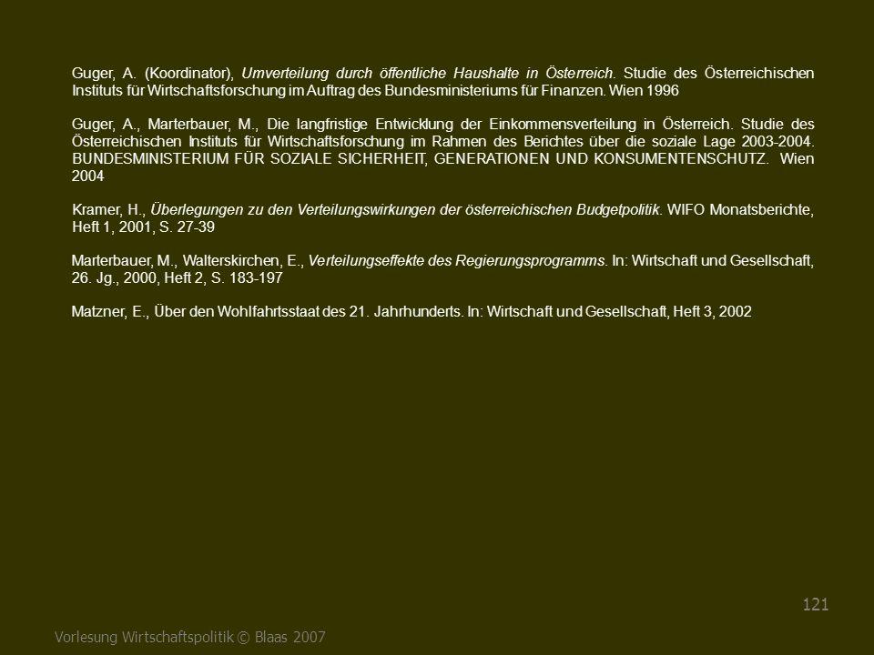Guger, A. (Koordinator), Umverteilung durch öffentliche Haushalte in Österreich. Studie des Österreichischen Instituts für Wirtschaftsforschung im Auftrag des Bundesministeriums für Finanzen. Wien 1996
