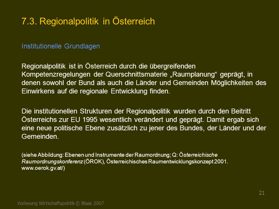 7.3. Regionalpolitik in Österreich