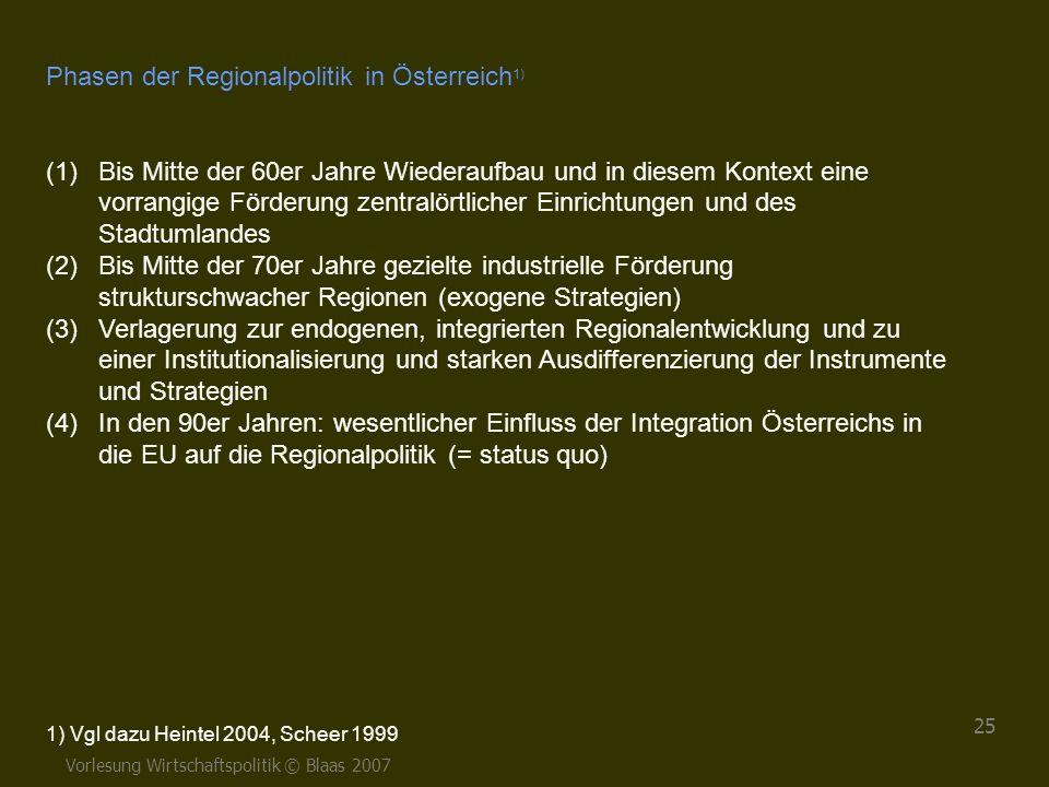 Phasen der Regionalpolitik in Österreich1)