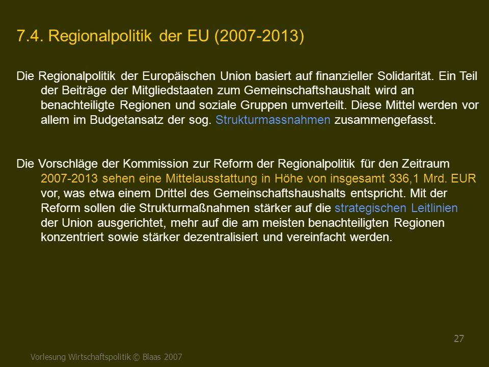 7.4. Regionalpolitik der EU (2007-2013)