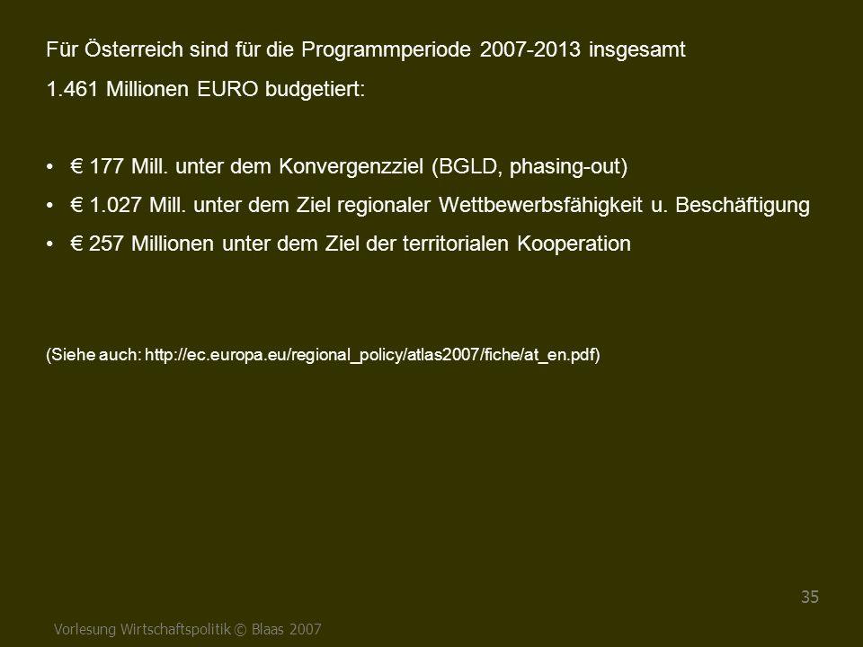 Für Österreich sind für die Programmperiode 2007-2013 insgesamt