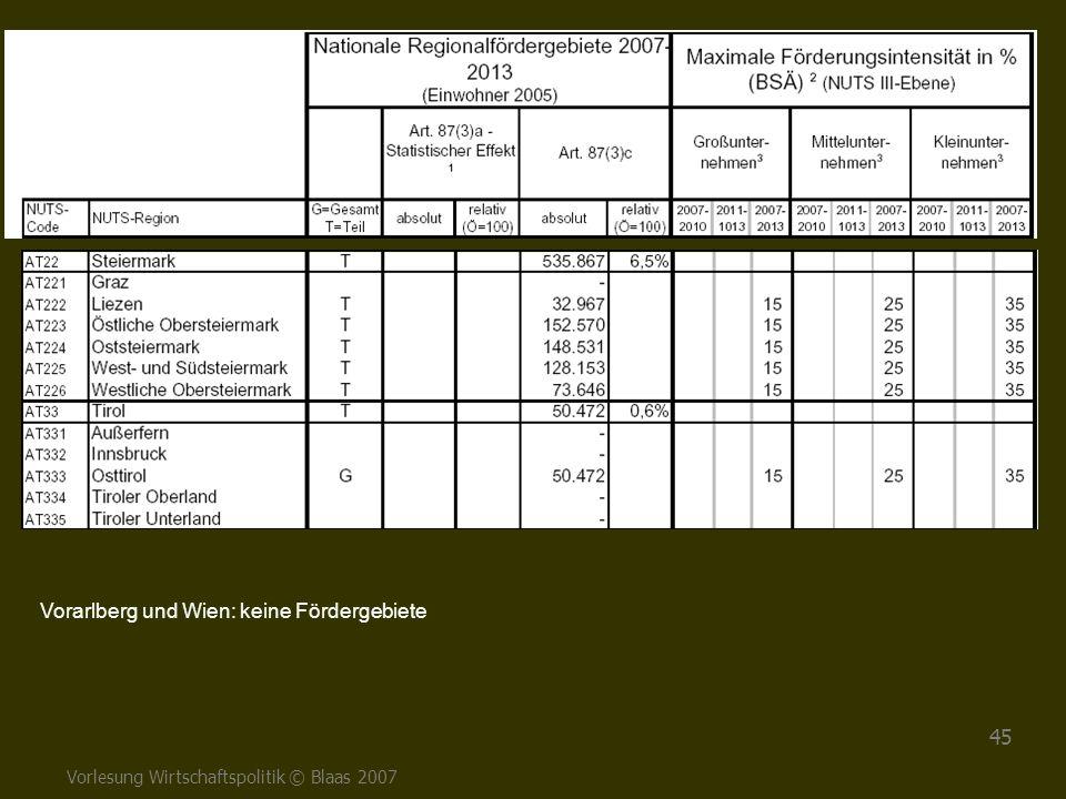 Vorarlberg und Wien: keine Fördergebiete
