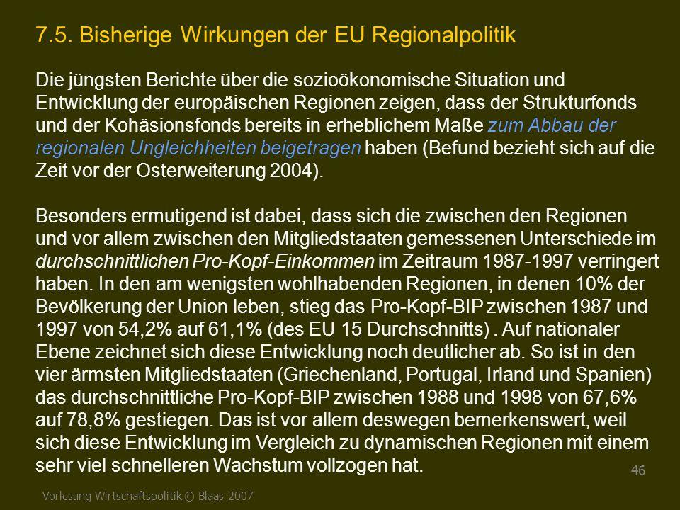 7.5. Bisherige Wirkungen der EU Regionalpolitik