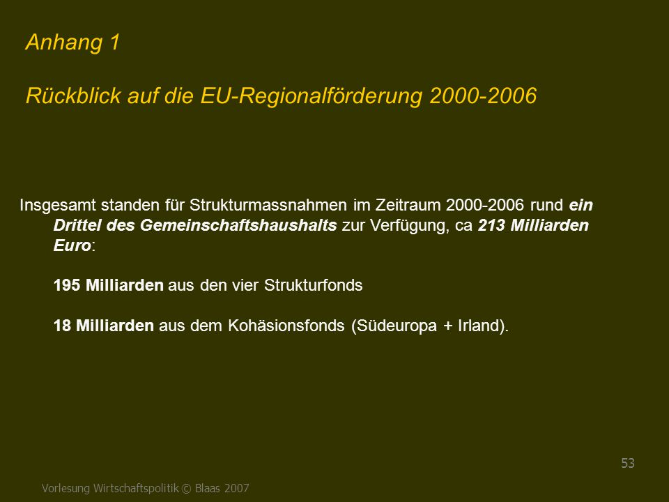 Rückblick auf die EU-Regionalförderung 2000-2006