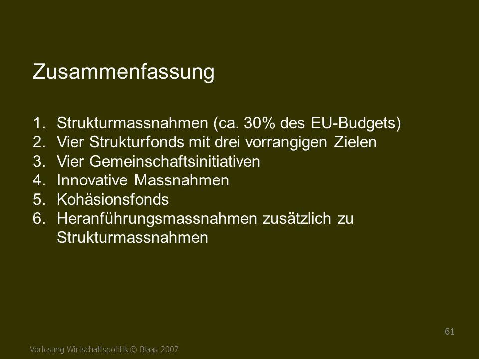 Zusammenfassung Strukturmassnahmen (ca. 30% des EU-Budgets)