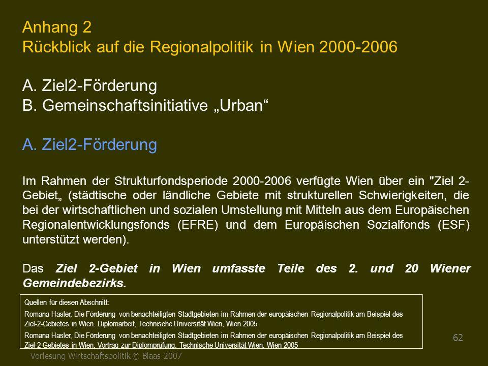 Rückblick auf die Regionalpolitik in Wien 2000-2006 A. Ziel2-Förderung