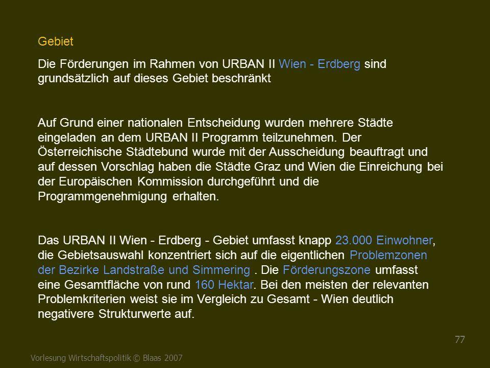 Gebiet Die Förderungen im Rahmen von URBAN II Wien - Erdberg sind grundsätzlich auf dieses Gebiet beschränkt.
