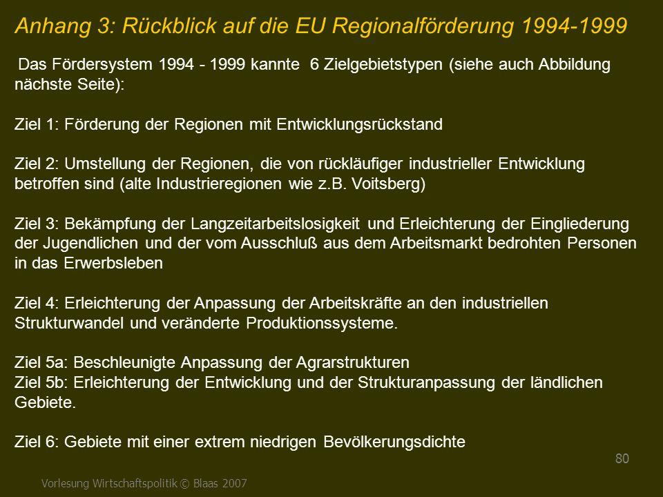 Anhang 3: Rückblick auf die EU Regionalförderung 1994-1999