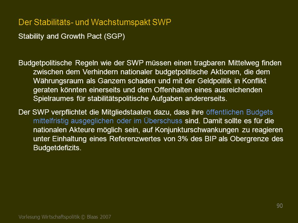 Der Stabilitäts- und Wachstumspakt SWP