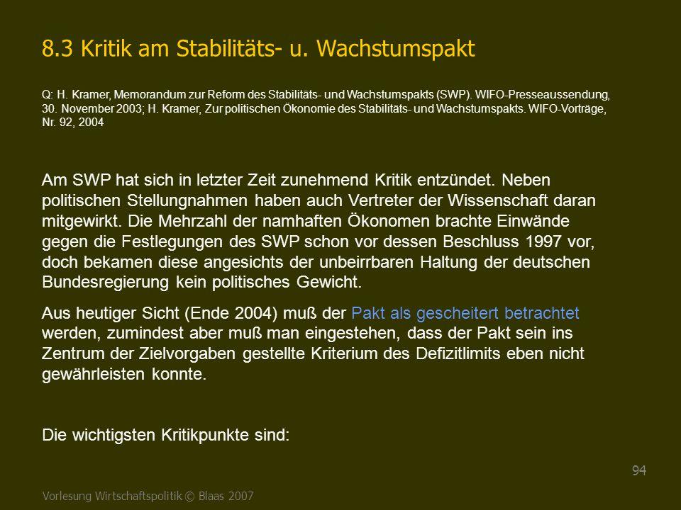 8.3 Kritik am Stabilitäts- u. Wachstumspakt