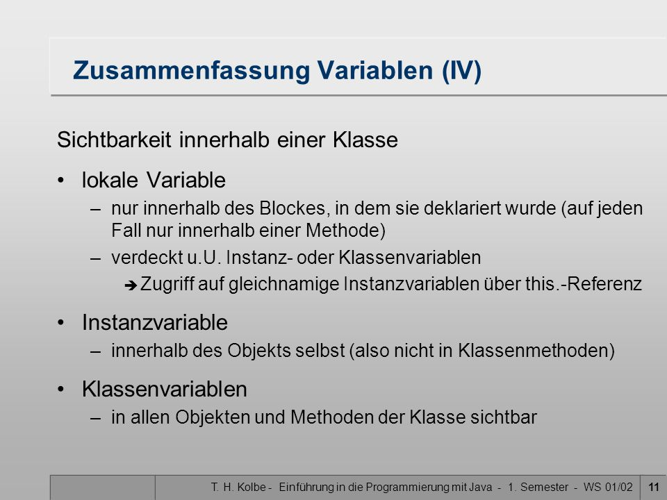 Zusammenfassung Variablen (IV)