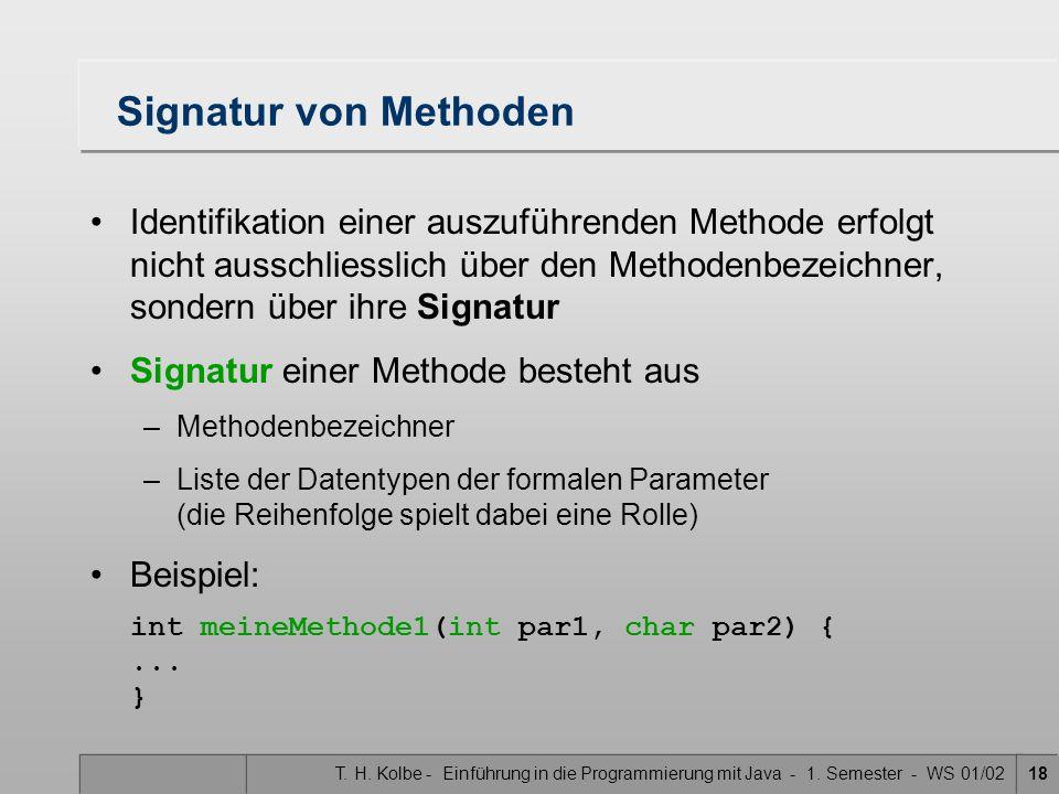 Signatur von Methoden