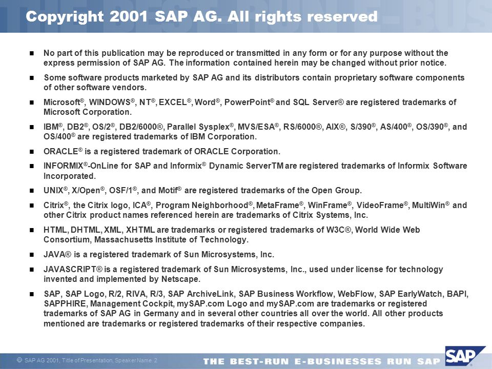 Copyright 2001 SAP AG. All rights reserved