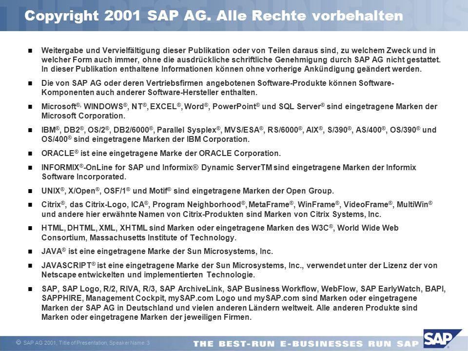 Copyright 2001 SAP AG. Alle Rechte vorbehalten