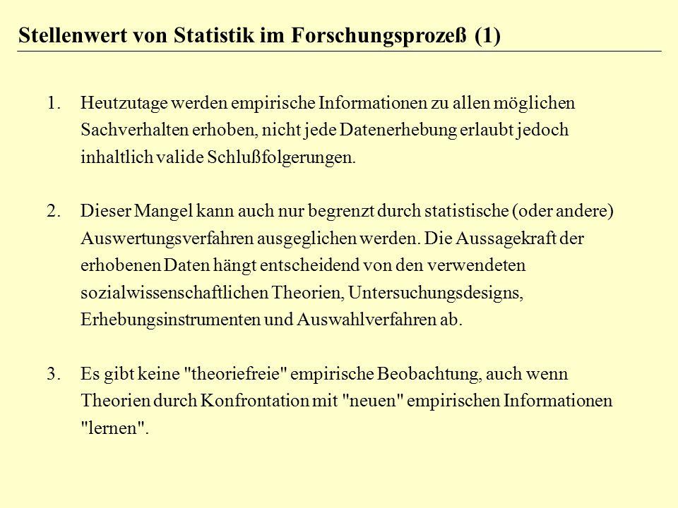 Stellenwert von Statistik im Forschungsprozeß (1)