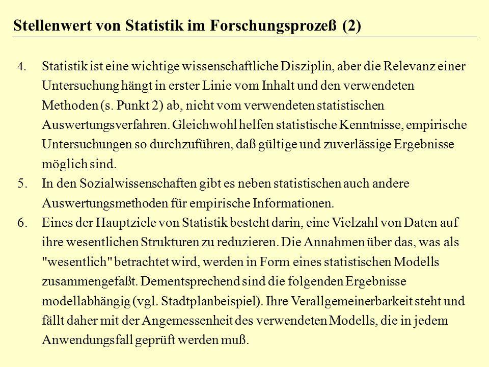 Stellenwert von Statistik im Forschungsprozeß (2)