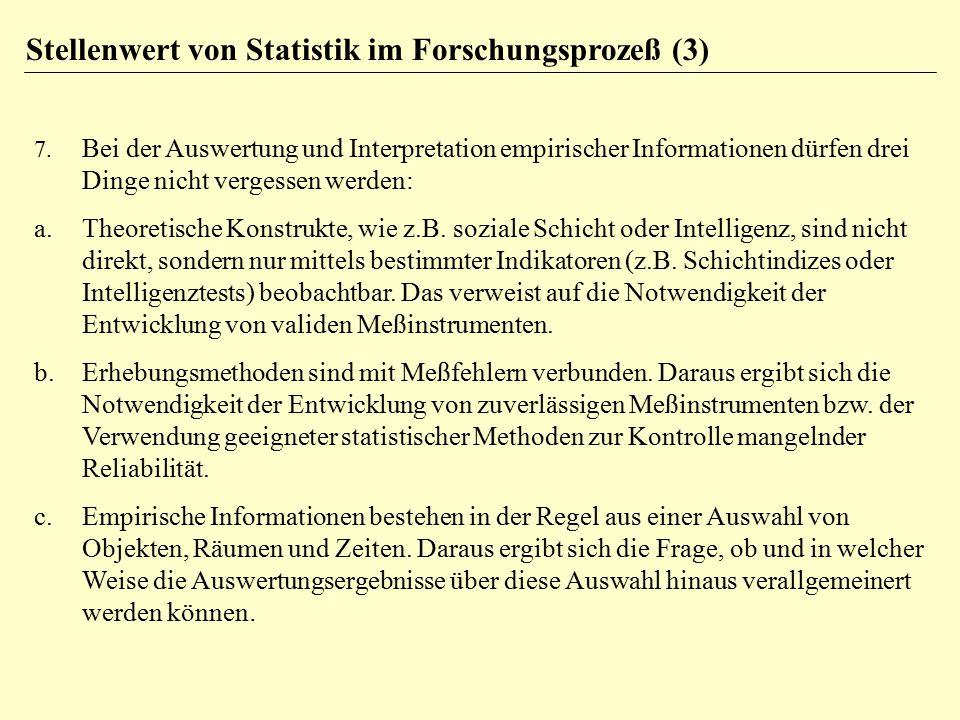 Stellenwert von Statistik im Forschungsprozeß (3)