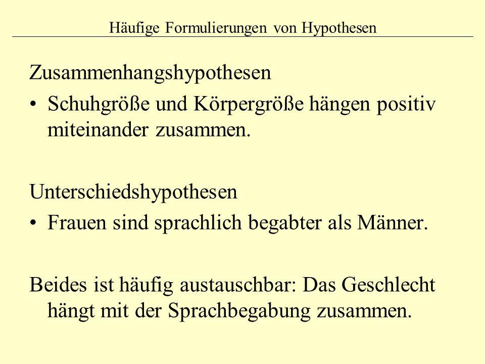Häufige Formulierungen von Hypothesen