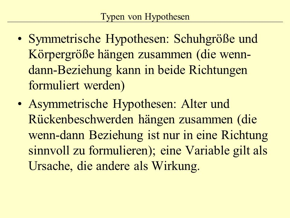 Typen von Hypothesen