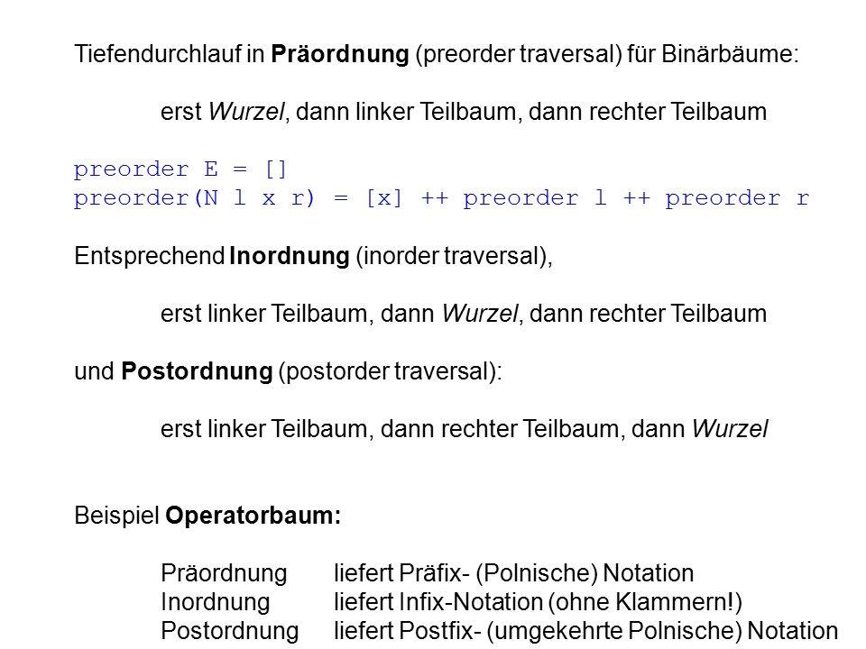 Tiefendurchlauf in Präordnung (preorder traversal) für Binärbäume: