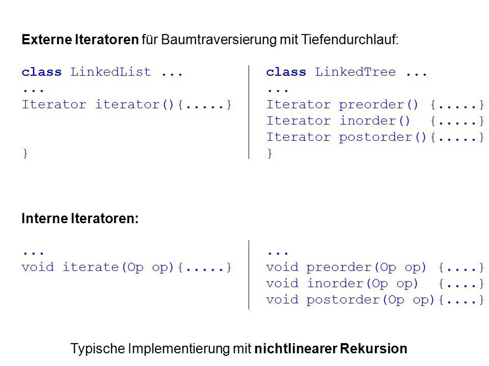 Externe Iteratoren für Baumtraversierung mit Tiefendurchlauf: