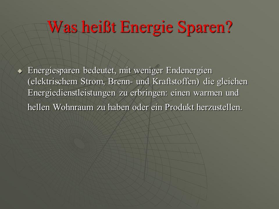 Was heißt Energie Sparen