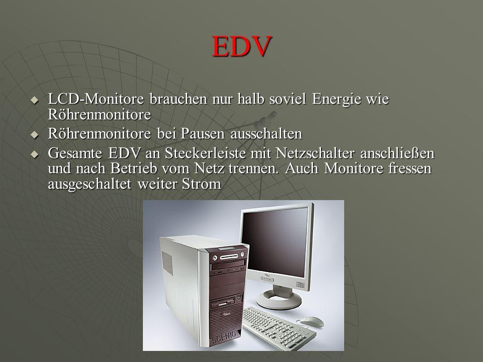 EDV LCD-Monitore brauchen nur halb soviel Energie wie Röhrenmonitore