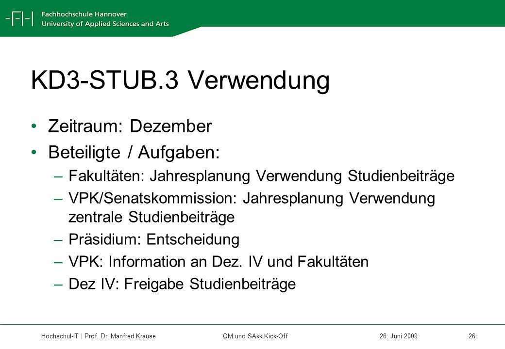 KD3-STUB.3 Verwendung Zeitraum: Dezember Beteiligte / Aufgaben: