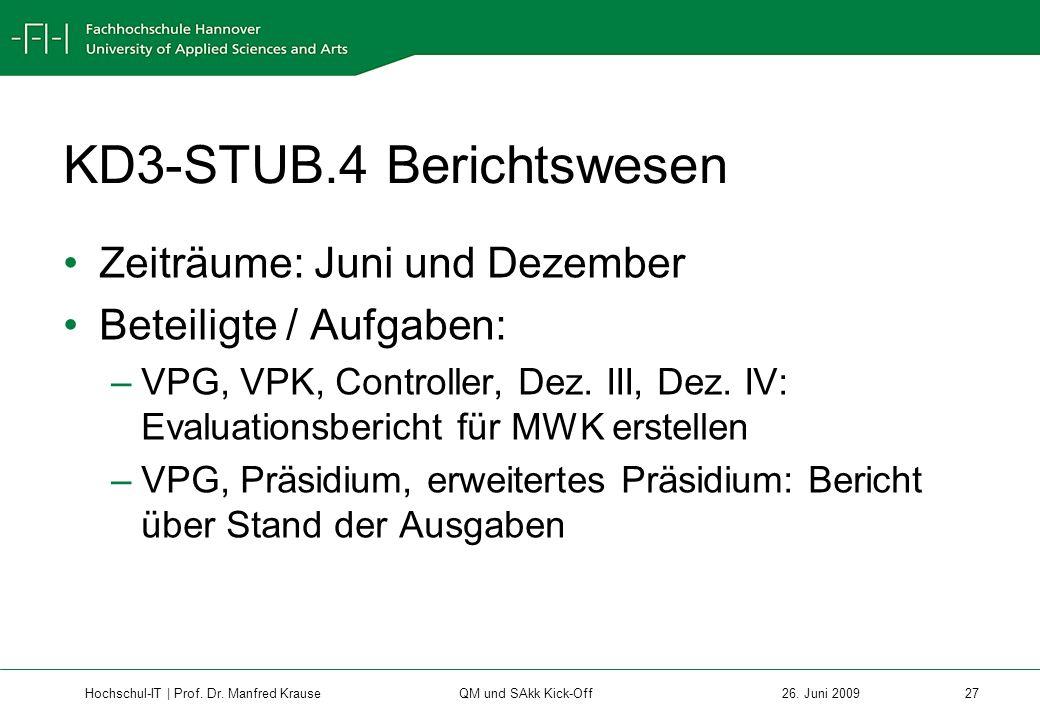 KD3-STUB.4 Berichtswesen