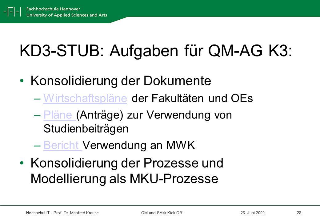 KD3-STUB: Aufgaben für QM-AG K3: