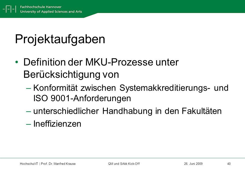 Projektaufgaben Definition der MKU-Prozesse unter Berücksichtigung von