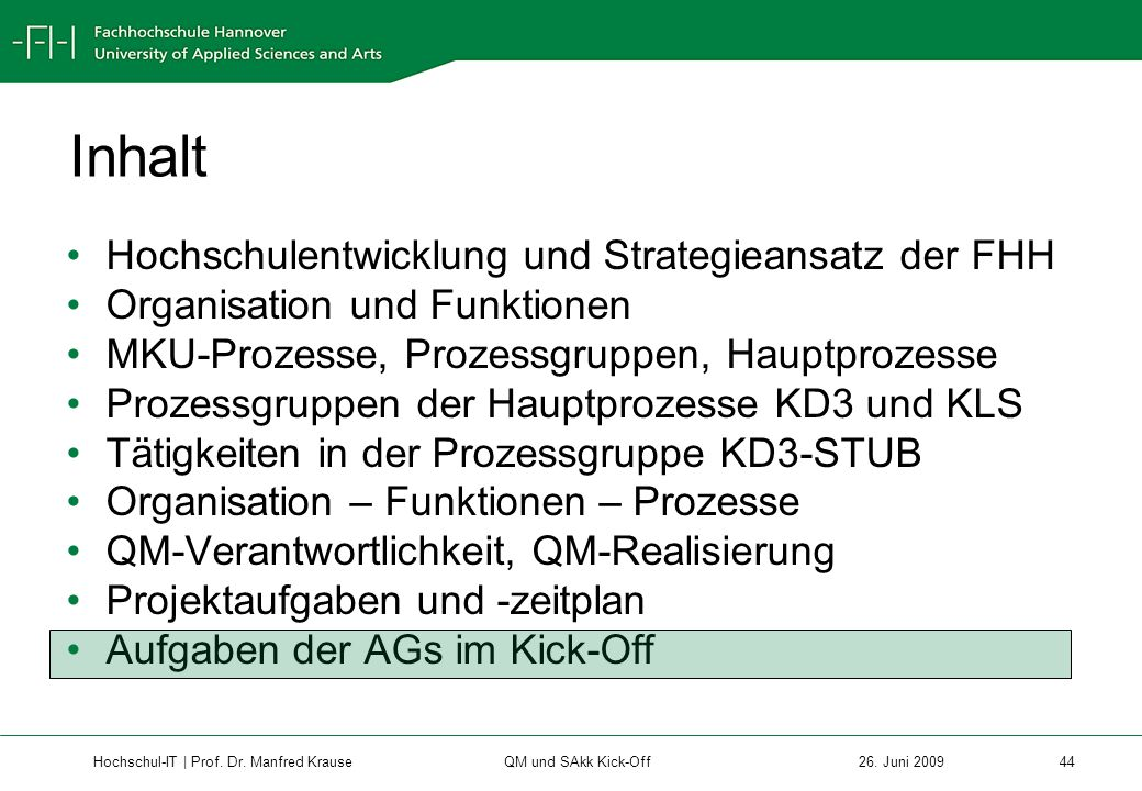 Inhalt Hochschulentwicklung und Strategieansatz der FHH