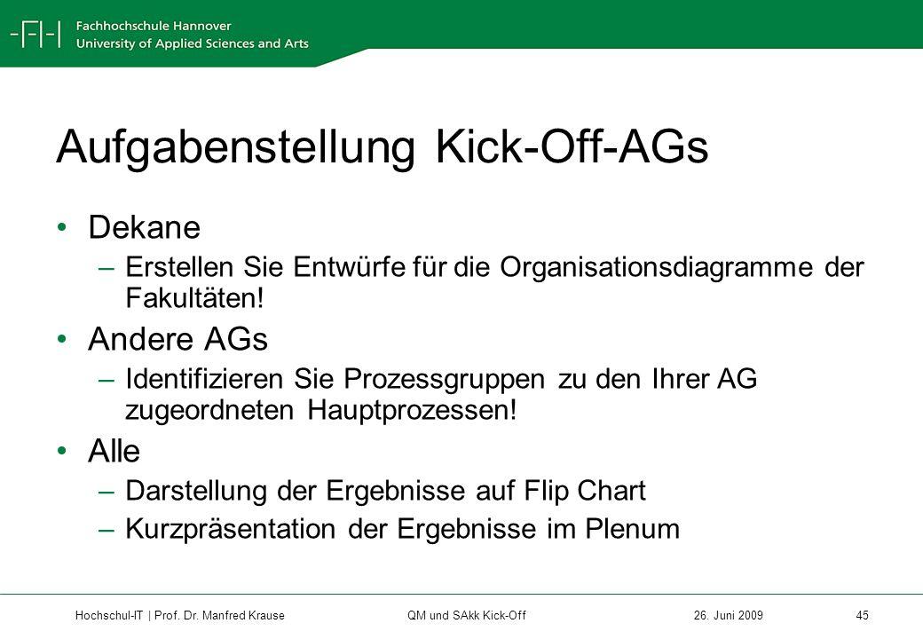 Aufgabenstellung Kick-Off-AGs
