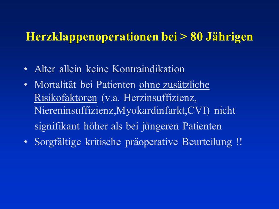 Herzklappenoperationen bei > 80 Jährigen