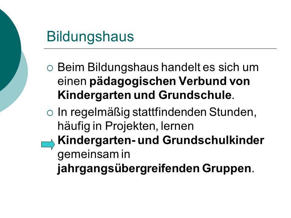 Bildungshaus Beim Bildungshaus handelt es sich um einen pädagogischen Verbund von Kindergarten und Grundschule.