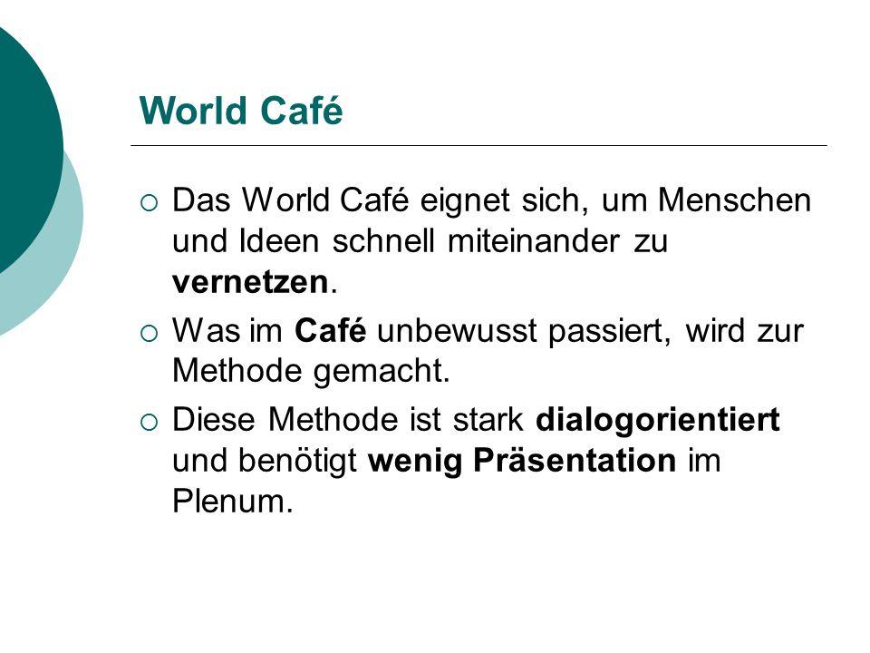 World Café Das World Café eignet sich, um Menschen und Ideen schnell miteinander zu vernetzen.