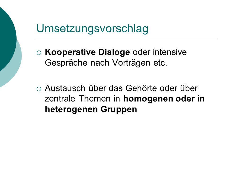 Umsetzungsvorschlag Kooperative Dialoge oder intensive Gespräche nach Vorträgen etc.