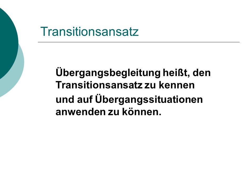 Transitionsansatz Übergangsbegleitung heißt, den Transitionsansatz zu kennen.