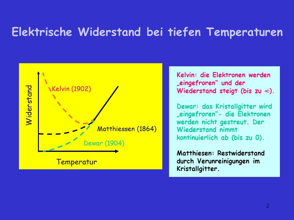 Elektrische Widerstand bei tiefen Temperaturen