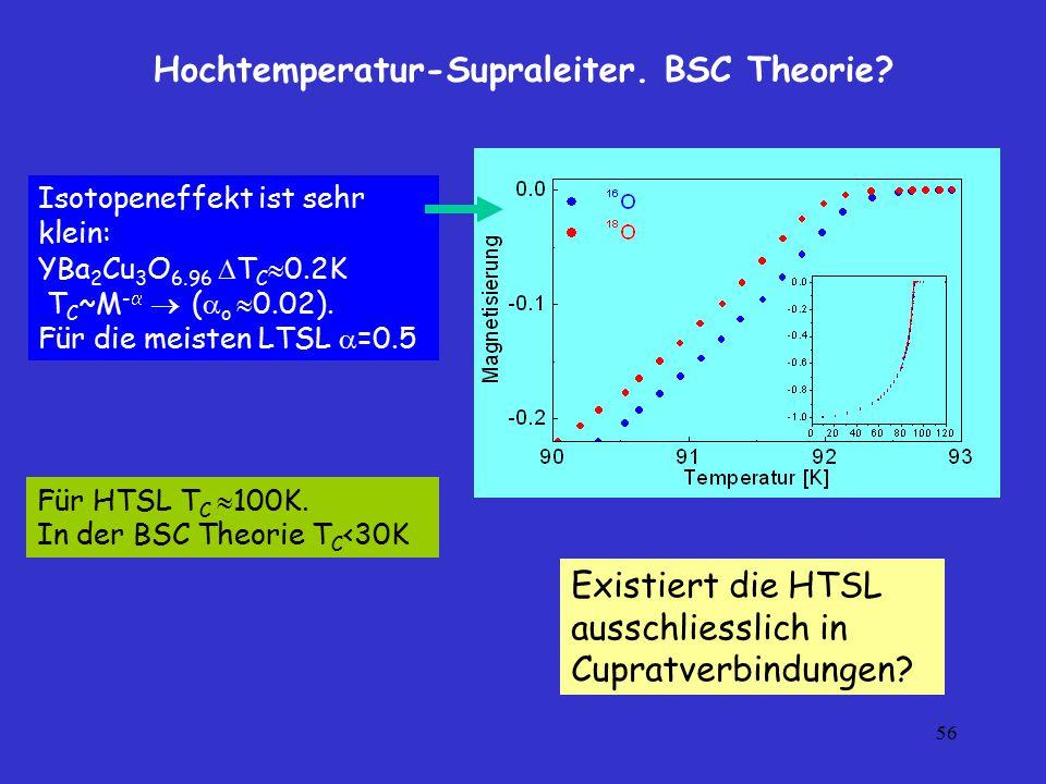 Hochtemperatur-Supraleiter. BSC Theorie