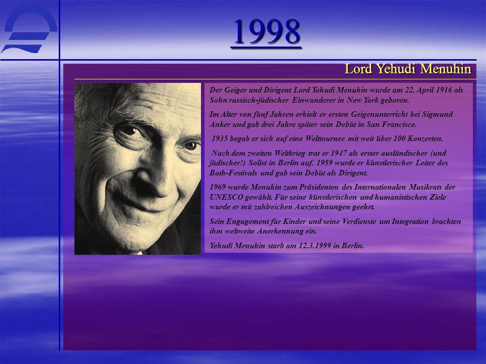1998 Lord Yehudi Menuhin.