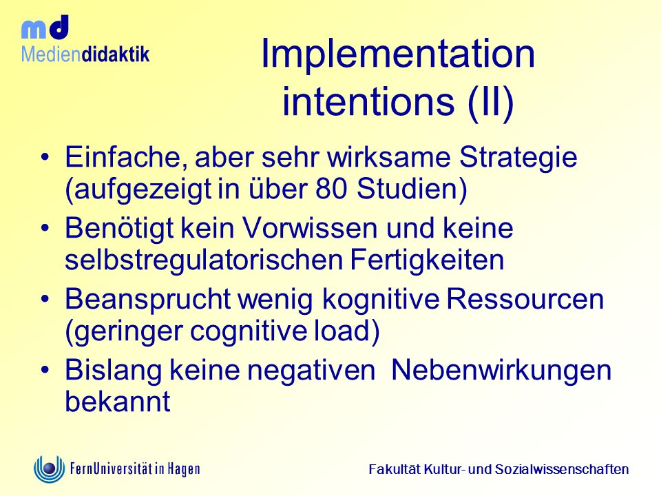 Implementation intentions (II)