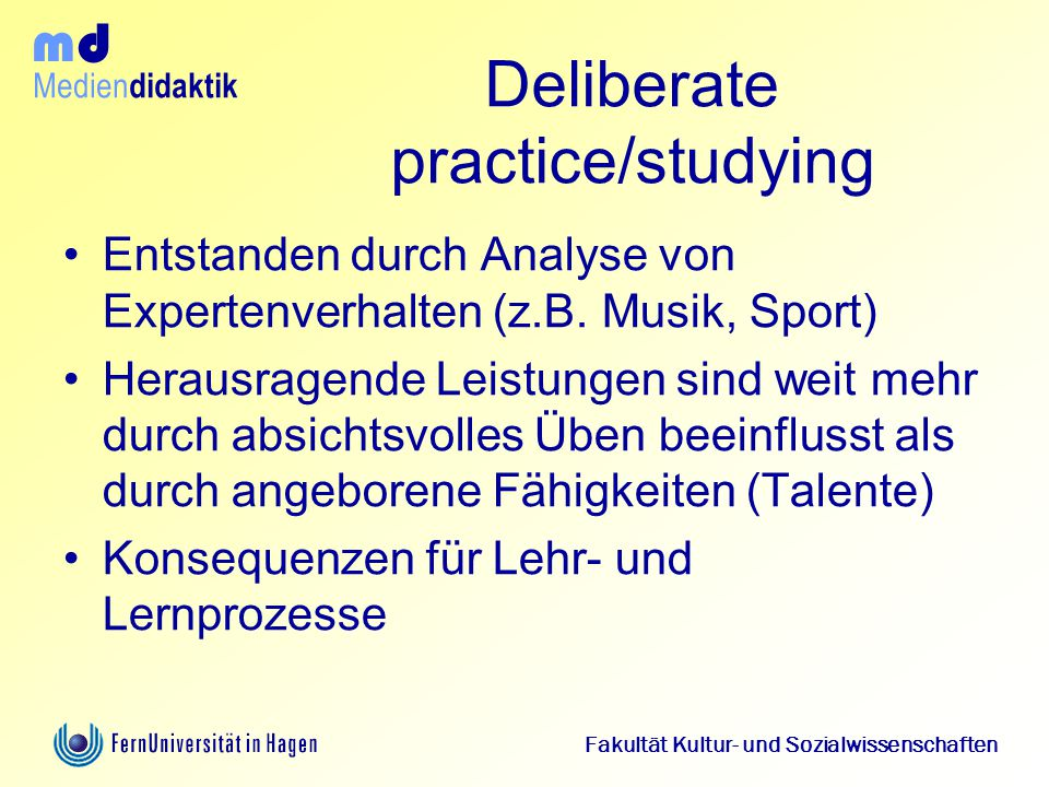Deliberate practice/studying