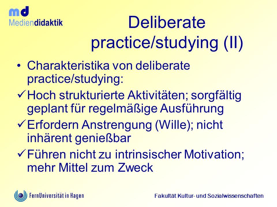 Deliberate practice/studying (II)