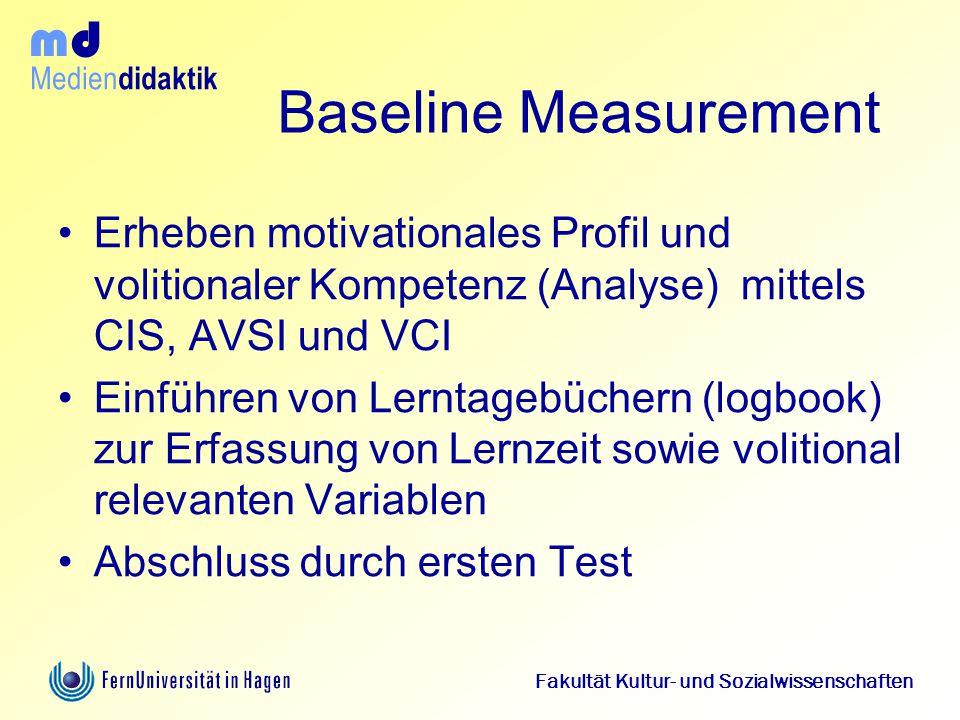 Baseline Measurement Erheben motivationales Profil und volitionaler Kompetenz (Analyse) mittels CIS, AVSI und VCI.