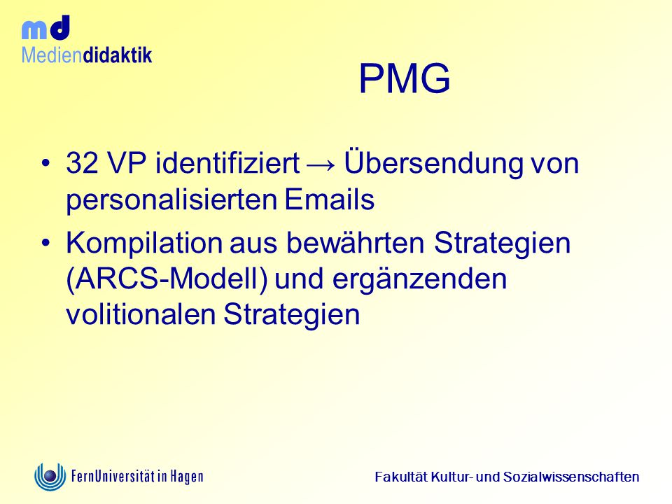 PMG 32 VP identifiziert → Übersendung von personalisierten Emails